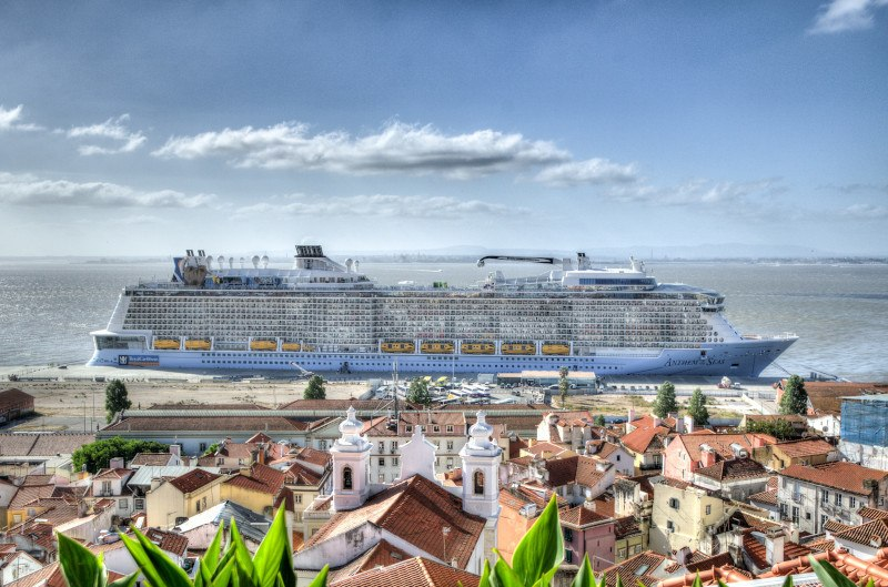 A docked cruise ship in an old port