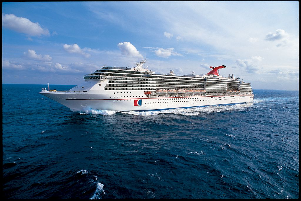 A cruise ship of the Carnival Cruise Lines Australia floating on the ocean