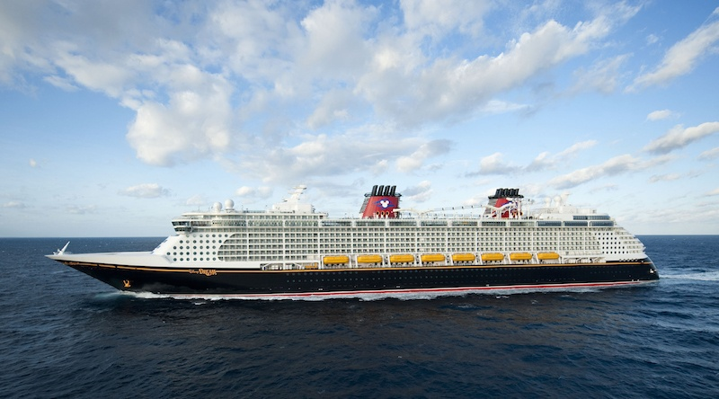 A cruise ship of the Disney Cruise Line floating on the ocean