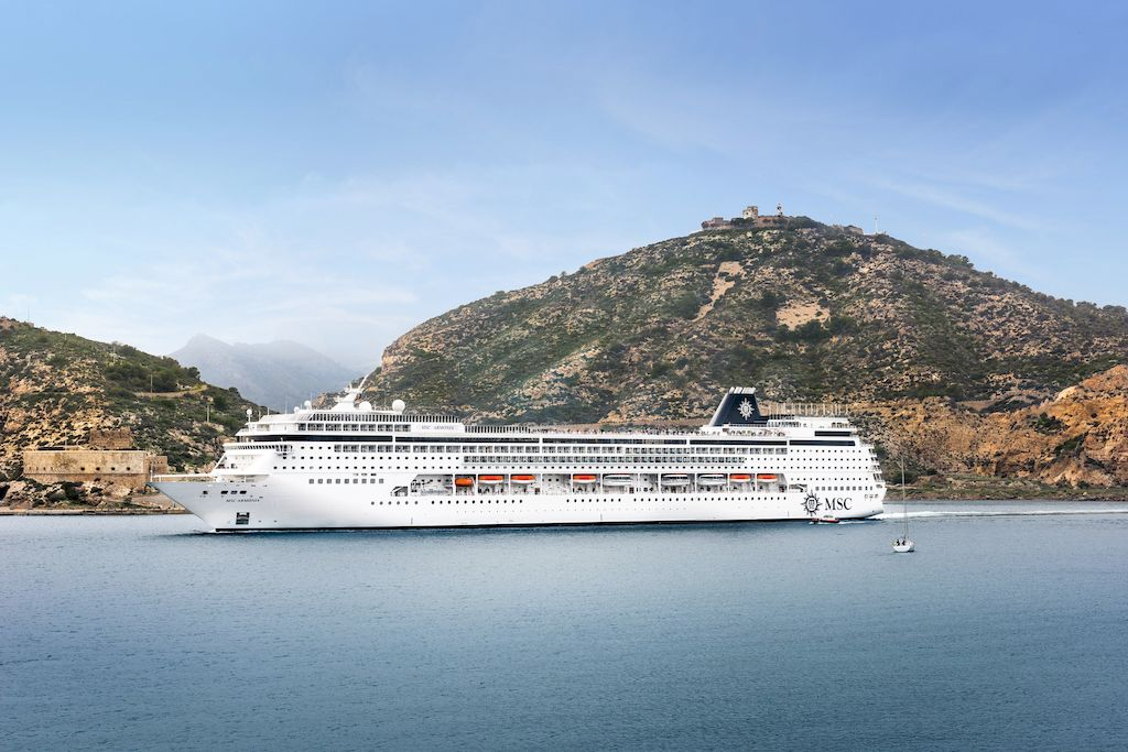 A cruise ship from MSC Cruises floating on the ocean