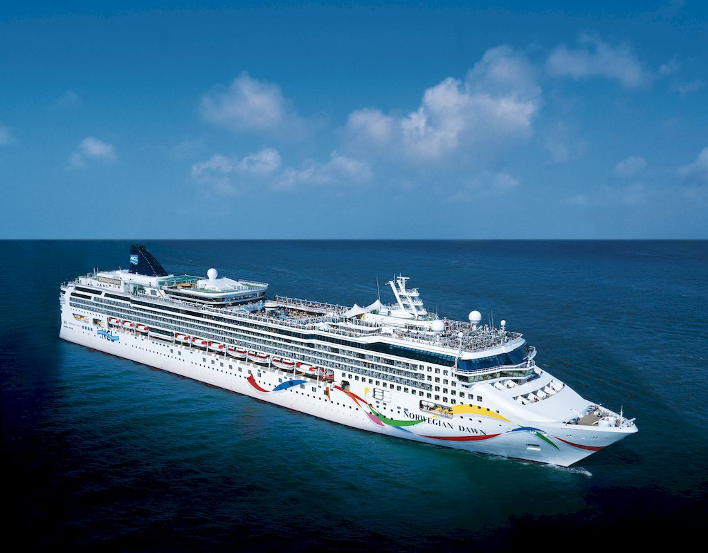 The Norwegian Dawn floating on the ocean