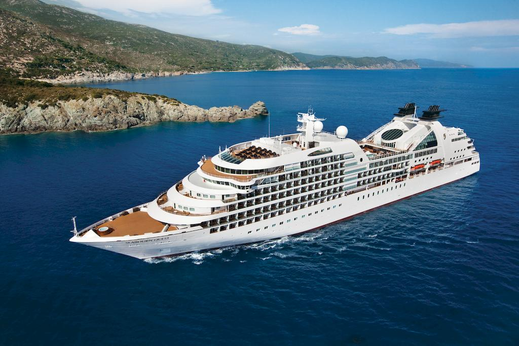 A cruise ship from Seabourn Cruises floating on the ocean
