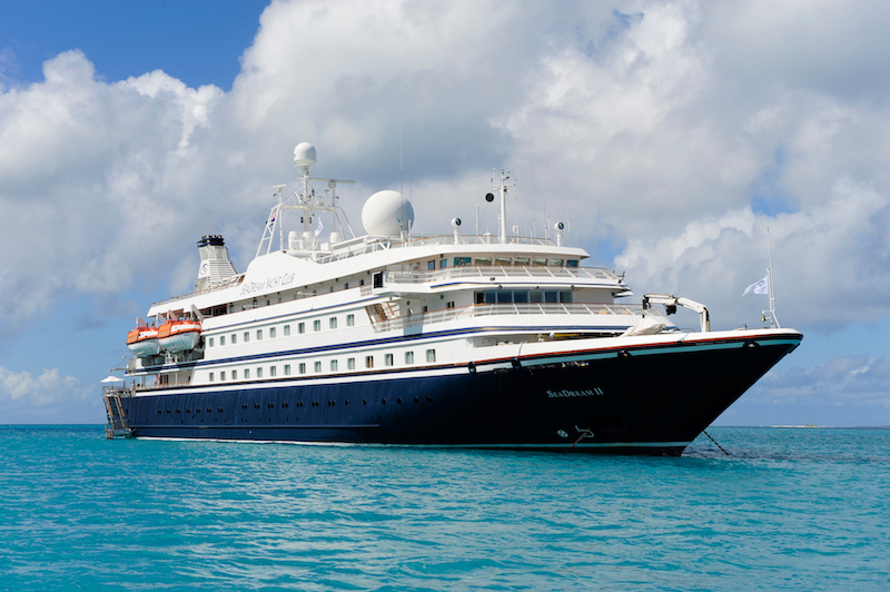 The SeaDream II floating on the ocean