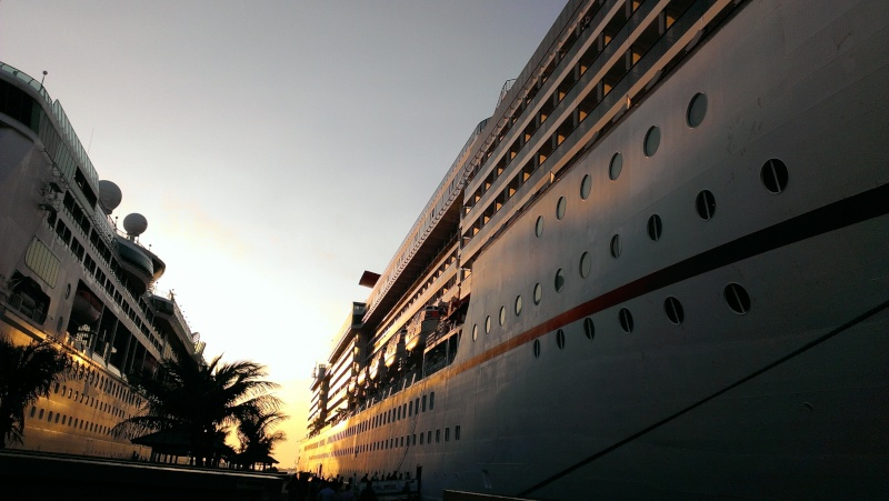 docked cruise ship at sunset