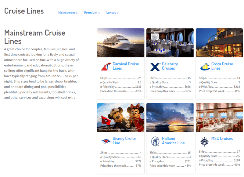 Cruisewatch cruise line browser